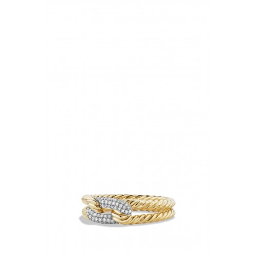 Women 'Petite Pavé' Loop Ring with Diamonds in 18K Gold Comfortable and elegant Gold KNWACXP