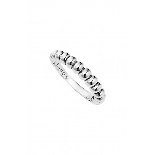 Women 'SignatureCaviar'Bold Fluted Stack Ring Comfortable and elegant Silver FPCGYXH
