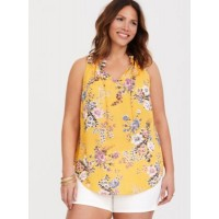 Georgette fabric Elasticized split neck with self-tie detail Women Yellow Floral Georgette Tank 11257739 PPATFXD