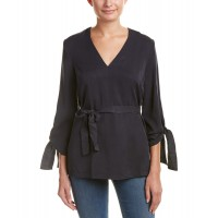Women Do+Be Tie-Cuff Top Approximately 27in from shoulder to hem Charcoal 445682001 GNTLCYP