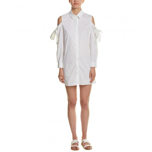 Women Lea & Viola Cold-Shoulder Shirtdress Approximately 34in from shoulder to hem White 451511201 JCDRTZT