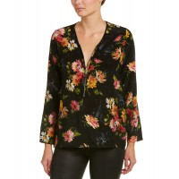 Women The Kooples Front Zip Silk Shirt Approximately 25.5in from shoulder to hem Black 467579102 GUUDNKB