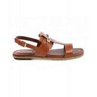 Women Tod's Women's Brown Leather Sandals Sexy and elegant Brown Style # 494944201 OUDFPWO
