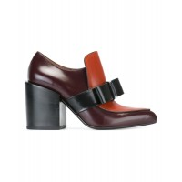 Women Marni Women's Burgundy Leather Heels Sexy and elegant Red Style # 448690401 IRIZZQY