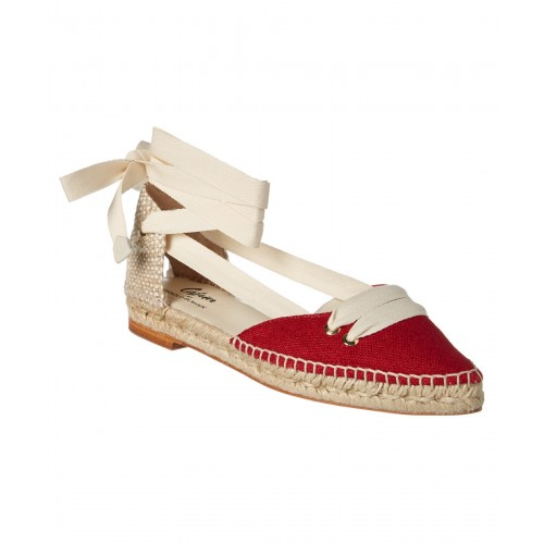 Women Castaer By Manolo Blahnik Canvas Lace-Up Espadrille Sexy and elegant Red Style # 491343901 FNYIZGW