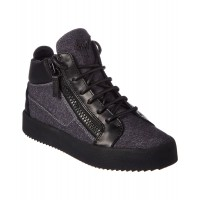 Women Giuseppe Zanotti Flannel & Leather High-Top Sneaker Sexy and elegant Grey Style # 510619401 DFITFWT