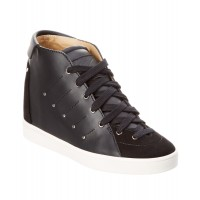 Women Giuseppe Zanotti Leather & Suede Wedge Sneaker Sexy and elegant Black Style # 510620801 CNPGWZY