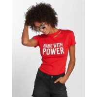 Sixth June Women T-Shirt Babe in red very finely ribbed crew neck with a cool cut-out underneath W3163RED JWIVFMC