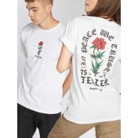 Tealer T-Shirt In Peace We Trust in white ribbed crew neck TEAPRIINPEACEWETRUSTTEE01WHT RGLDYYI