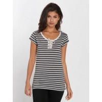 Urban Surface Women T-Shirt Melina in grey Round neck with decorative lacing D1278L00318OGRYMELSTA LHDQSTY