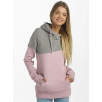 Bench Women Hoodie Life in pink pink / gray 90% cotton 10% polyester Hood with crossed collar BLWE002433PK11462 UWPBNON