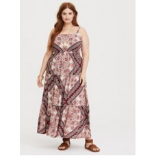 Challis fabric Scoop neck; scoop back with crisscross detail Sleeveless; fixed straps Women Red Scarf Print Challis Maxi Dress 11274953 RRVJJTJ