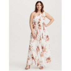 Chiffon fabric One-shoulder neck Sleeveless Women Special Occasion Floral Chiffon Dress 11203293 QLELAKF