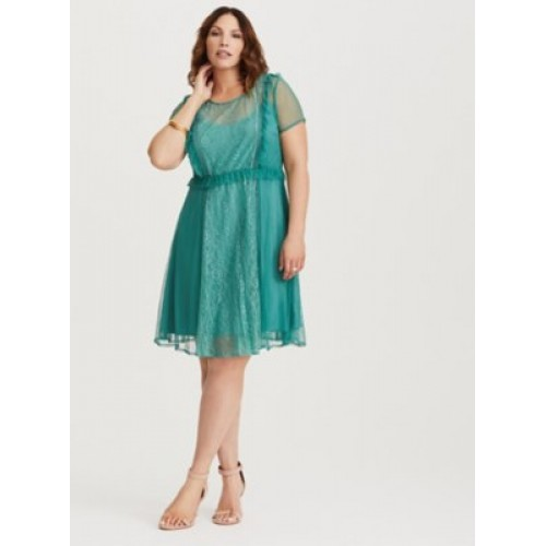 Lace and mesh fabric Crew neck Short sleeves Women Teal Lace & Mesh Skater Dress 11266032 TCOUQON