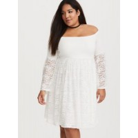 Off shoulder neck Bell sleeves Skater silhouette Women White Lace Shirred Skater Dress 11210241 NXRYKYD