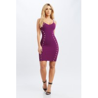 Women Florence Mini Dress v neck mini dress featuring side button and mesh details. v neck FNNIEIS