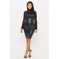 Women Forget Me Not Dress Sequined bodycon dress featuring mesh top and arm details. Cowl neck KYYSJNH