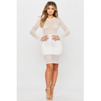 Women Mermaid Dress Gorgeous long sleeved dress featuring crystal details. High neck YYOOFTY