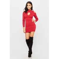 Women Missing Key Dress Ribbed dress featuring a cut out key hole front. Cowl neck HLLRSZW