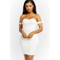 Women None Of Your Business Lace Up Dress Bustier dress featuring side arm tie details. Bustier WIQWLKJ