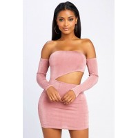 Women Out On The Town Mini Dress Off the shoulder mini dress featuring a waist cut-out. Off the shoulder ZQQBCOA