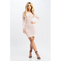 Women Party Goes On Dress ribbed mini dress featuring mesh details. crew neck RGBFFAH