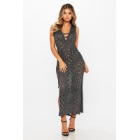 Women Take Me Out Knit Dress Subtle shimmer and stretch knit render dress with grommet detail. Metallic finish KZKHBNK