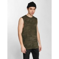 Urban Classics Men Tank Tops Camo in camouflage camouflage 60% cotton 40% polyester ribbed crew neck TB2179OLVCAM UUIYYJN