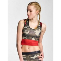 Sixth June Women Tank Tops 2 in 1 in camouflage green / camouflage 92% Polyester 8% Spandex Racerback for optimal Beweungsfreiheit W2383WTOGRECAM YXCFLZK