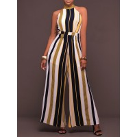 Women HOLA SARA Daytime Bow Casual Striped Printed Jumpsuit 70% Polyester 30% Spandex 1BJU4N005E RYWNNUQ