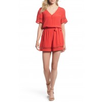 Women Lace Inset Romper Comfortable and elegant Red TJCLFCD