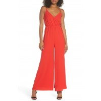 Women Lily Pond Faux Wrap Jumpsuit Comfortable and elegant Red BEWNFPW