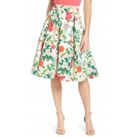 Women Floral A-Line Skirt Comfortable and elegant more temperament Ivory Multi CPSYCHQ