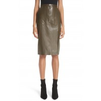 Women Leather Pencil Skirt Comfortable and elegant more temperament Pine EACXYWH