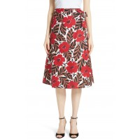 Women poppy field wrap skirt Comfortable and elegant more temperament Lingonberry YNKJOOW