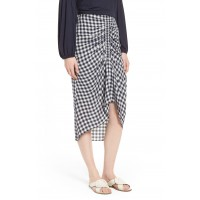 Women Ruched Front Gingham Skirt Comfortable and elegant more temperament Navy Night- White Check XGZSLYV