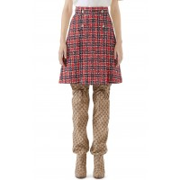 Women Tiger Button Tweed A-Line Skirt Comfortable and elegant more temperament Royal Blue/ Red FRPENWA